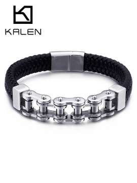 Punk Jewelry Special Biker Bicycle Motorcycle Chain Men's Bracelets Bangles Leateher Titanium Steel Bracelet