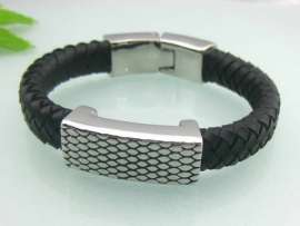 Stainless Steel Leather Bangle